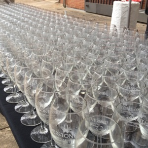 Wine glasses waiting to be filled